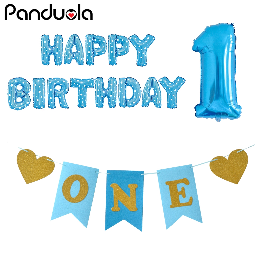 Happy Birthday Balloon 1st I AM ONE Paper Banners Blue Pink Party Decoration Kids Baby Boy Girl 1 First Year