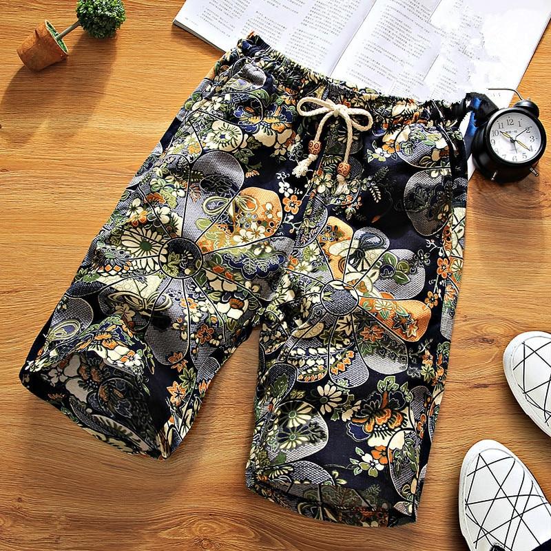Black Fower Geometric Printed   Shorts   Elastic Waist Linen   Board     Shorts   Men Printed Summer