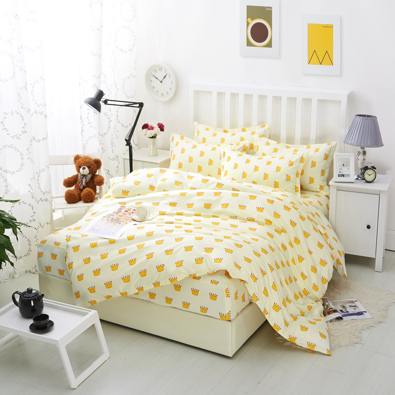 Beautiful White Flowers Bedding Fresh Style High Quality Polyester 4pcs Bedding Set Bed Sheet Pillowcase Bedspreads Duvet Cover