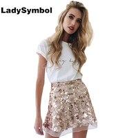 LadySymbol 2016 Herfst Hoge Taille Sequin Korte Rok Vrouwen Party Club Gold Winter Sexy Elegante Mesh Mini Sexy Rokken 90 s meisjes