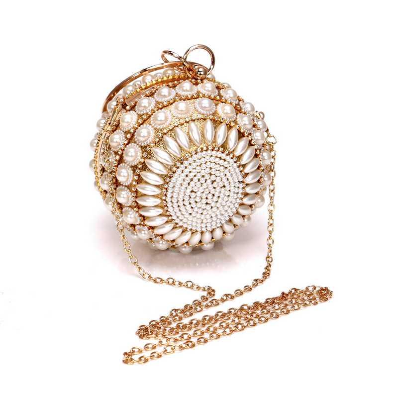 SEKUSA бисера Алмазы Для женщин Ежедневные клатчи Rhnestones вечерняя сумочка в виде жемчужины круглой формы сумки через плечо на цепочке для вечерние кошелек