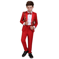 High quality children's tuxedo boys dress flower formal suit wedding host suit children stage piano costumes spring