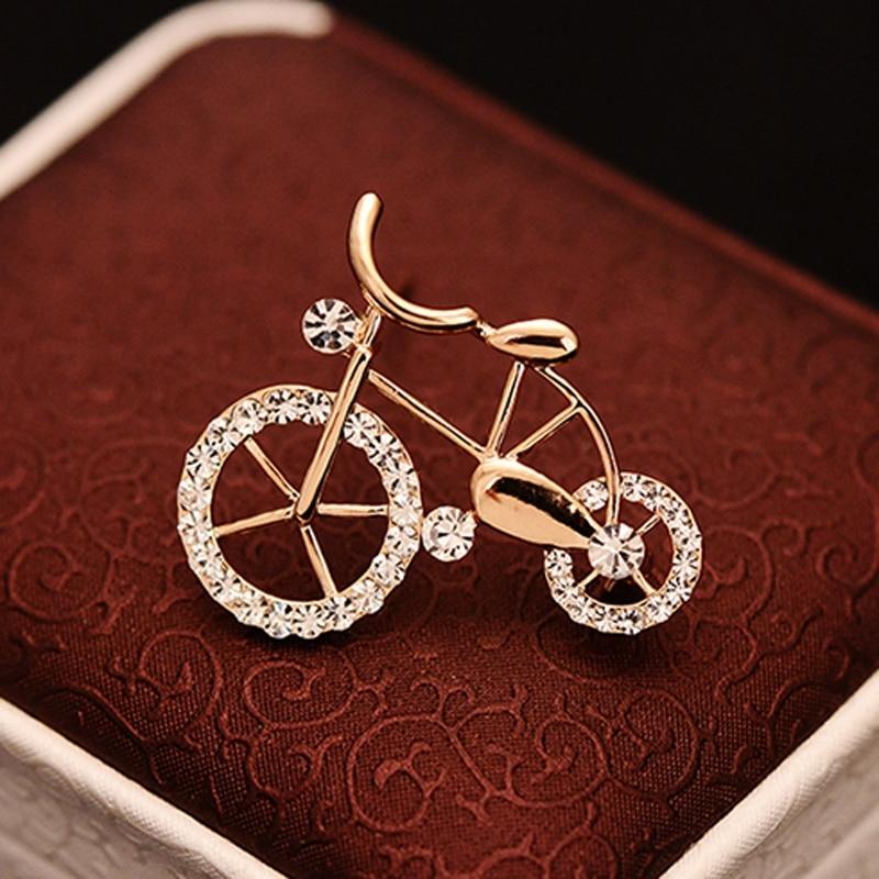 Brooch-Pins Jewelry-Gift Rhinestone Gold Women Twinkle Elegance Unisex 1PCS Bike-Shape