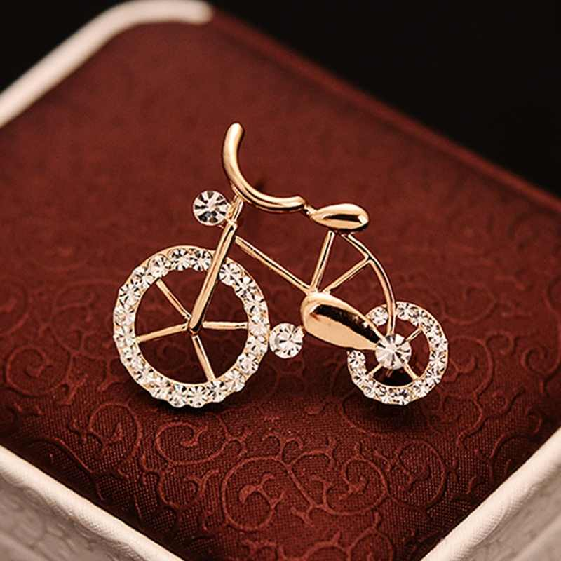 1PCS Elegance Gold Rhinestone Bike Shape Men Women Unisex Twinkle Brooch Pins Jewelry Gift