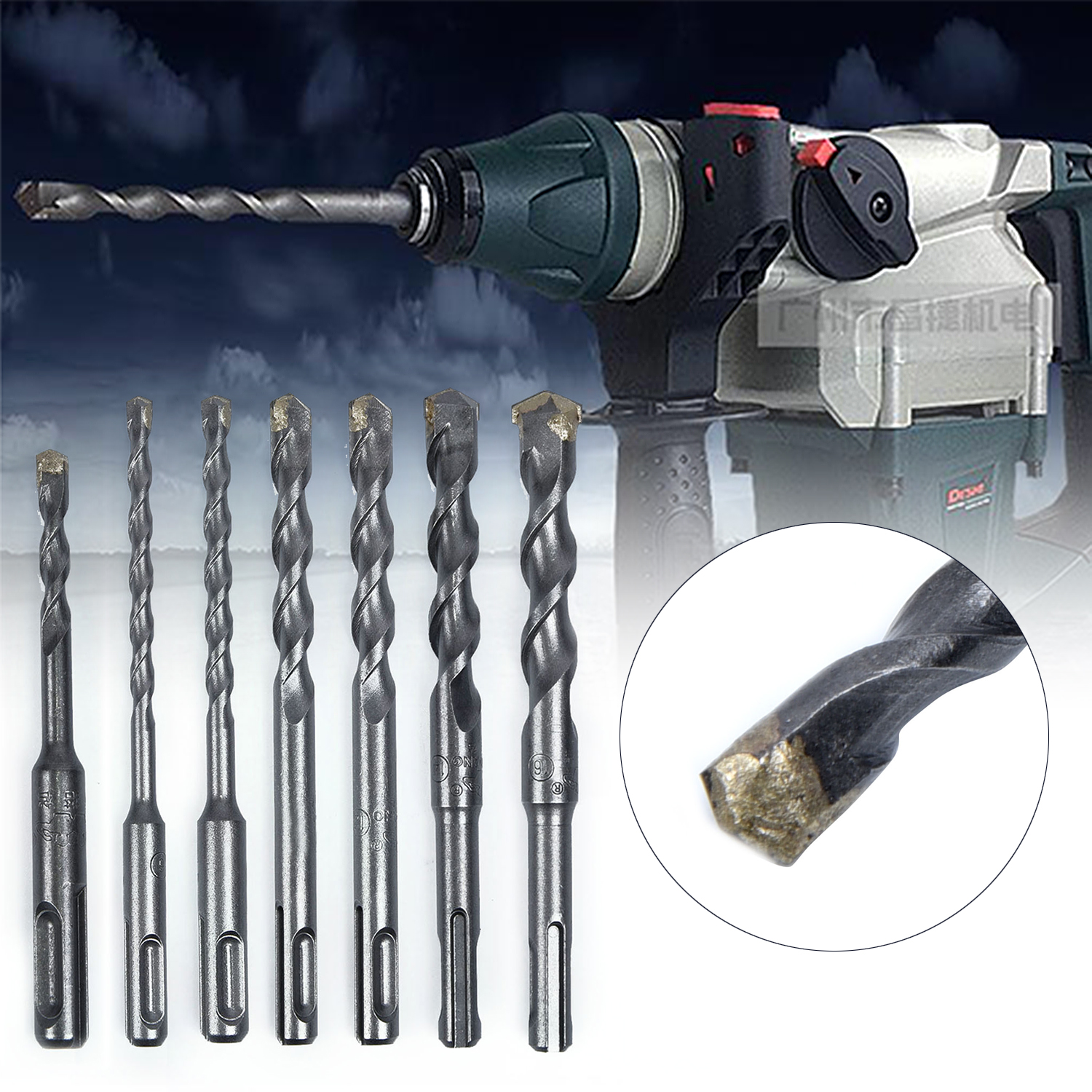 Masonry Round Handle Hammer Drill Bits For Concrete Brick Tungsten Sds Plus Tool Metal Drill Bit Home Garden Supplies in Drill Bits from Tools