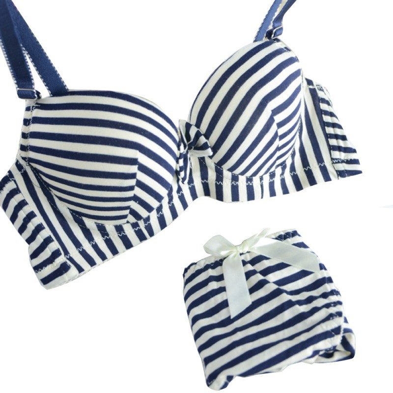 46be8d32b731f Fashion Women Smooth Striped Bra and Panty Set Padded Bra Underwear Beach  Sets 32-36B