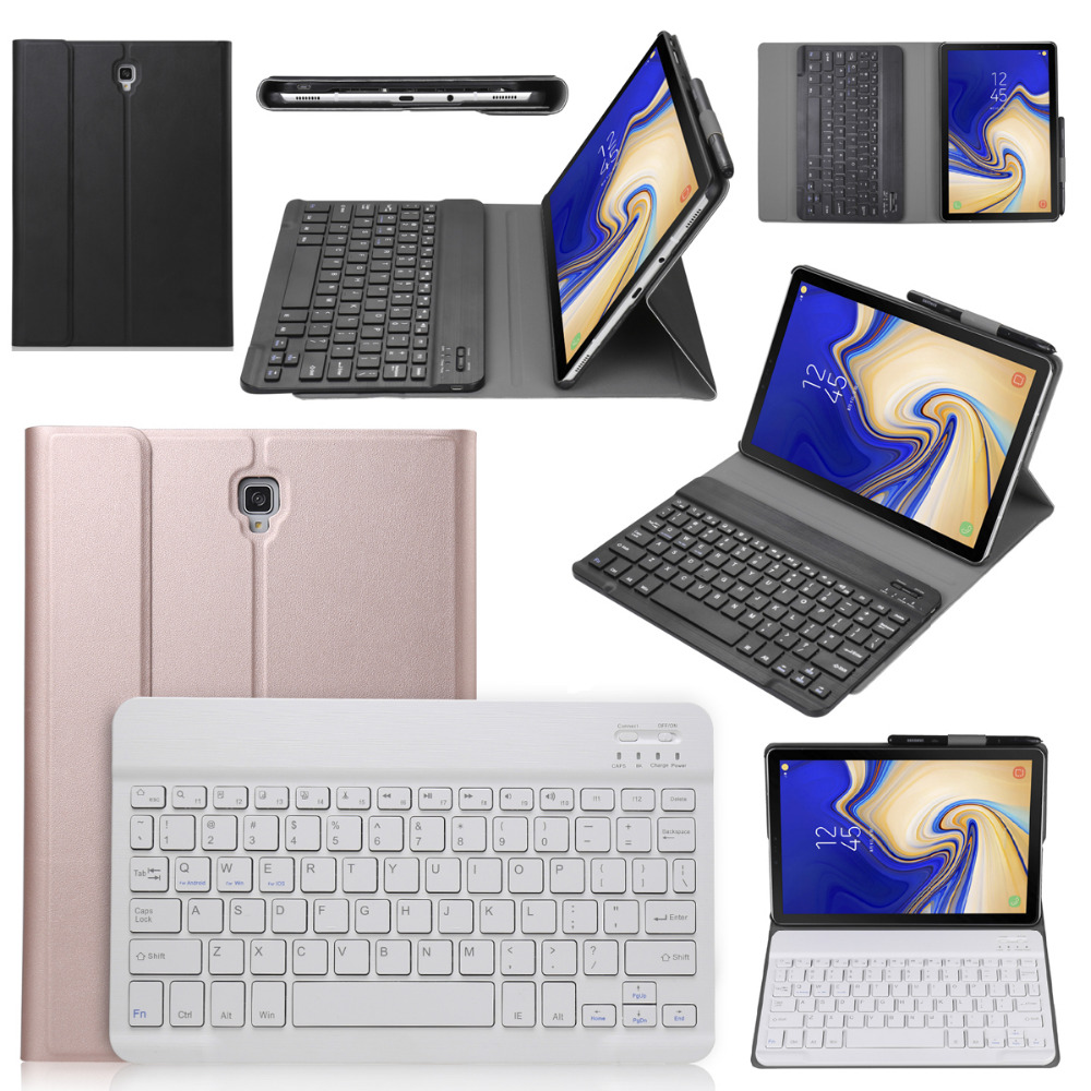 Slim Wireless Bluetooth Keyboard Case Stand Leather Smart Sleep Funda Cover For Samsung Galaxy Tab S4 10.5 SM-T830 SM-T835 T837 bluetooth keyboard for samsung galaxy note gt n8000 n8010 10 1 tablet pc wireless keyboard for tab a 9 7 sm t550 t555 p550 case