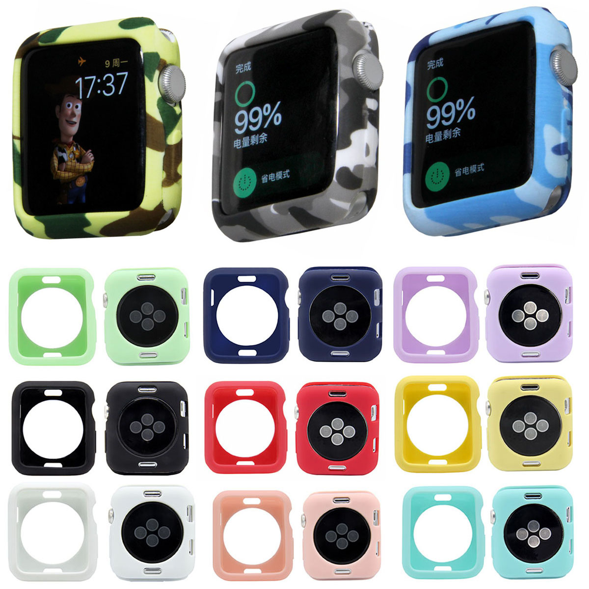Camouflage Soft TPU Watch Case for Apple Watch Cover 42mm 38mm Series 1 2 3 Protective Silicone Case for iWatch Shell Band series 1 2 3 soft silicone case for apple watch cover 38mm 42mm fashion plated tpu protective cover for iwatch
