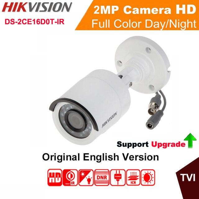 Hikvision Original English Analog TVI DS-2CE16D0T-IR HD1080P IR Bullet Camera 2MP IP66 weatherproof Up the Coax CCTV Camera hikvision ds 2ce16c0t ir 3 6mm original bullet camera outdoor analog camera ir tvi 720p 1mp