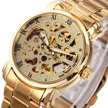 GANADOR Número Romano Esquelético Mecánico Auto Del Reloj de Las Mujeres Unisex de Oro de Lujo de Diseño Correa de Acero Inoxidable Reloj de pulsera de Moda