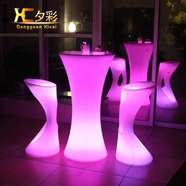 LED Bar Table Plastic Luminous Furniture High Whiskey Cocktail ...