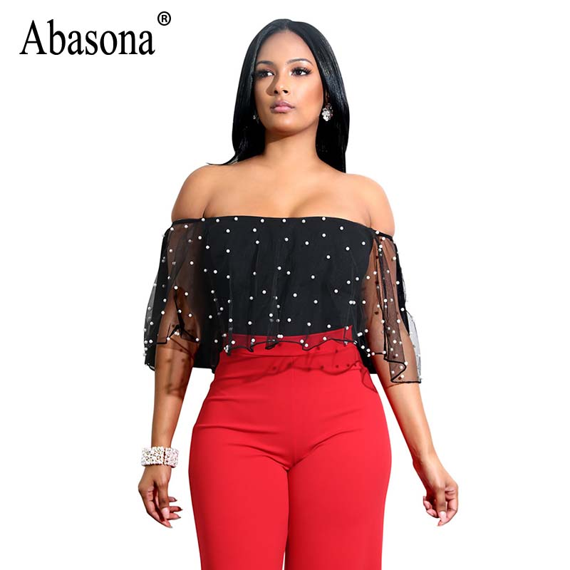 Abasona Beaded Mesh Tops Women Summer Off Shoulder Ruffles Blouse Sexy Party Club Top Fe ...