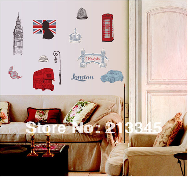 Fundecor London Clock Tower Office Wall Stickers Living