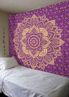 New Printed Lotus Tapestry Bohemia Boho Mandala Tapestry Wall Hanging Decoration Hippie Tapestry Beach Towel Yoga Mat Pink Blue