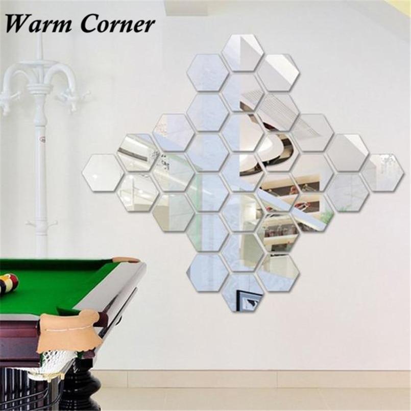Warm corner 12pcs 3 colors 3d mirror hexagon removable for Stickers miroir ikea