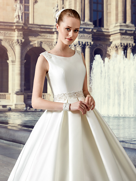Ivory Korean Satin Ball Gown Wedding Dresses With Box Pleats 2016 Winter Hollow Back Floor Length Vestido De Novia Wg161025 In From Weddings