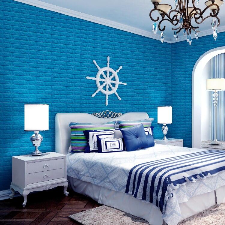 Pe foam 3d wall stickers brick pattern waterproof for Waterproof wallpaper for bedrooms