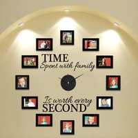 Wall Clock DIY Modern Design With Clock And Hands Time Spent With Family Creatively Acrylic Vinyl