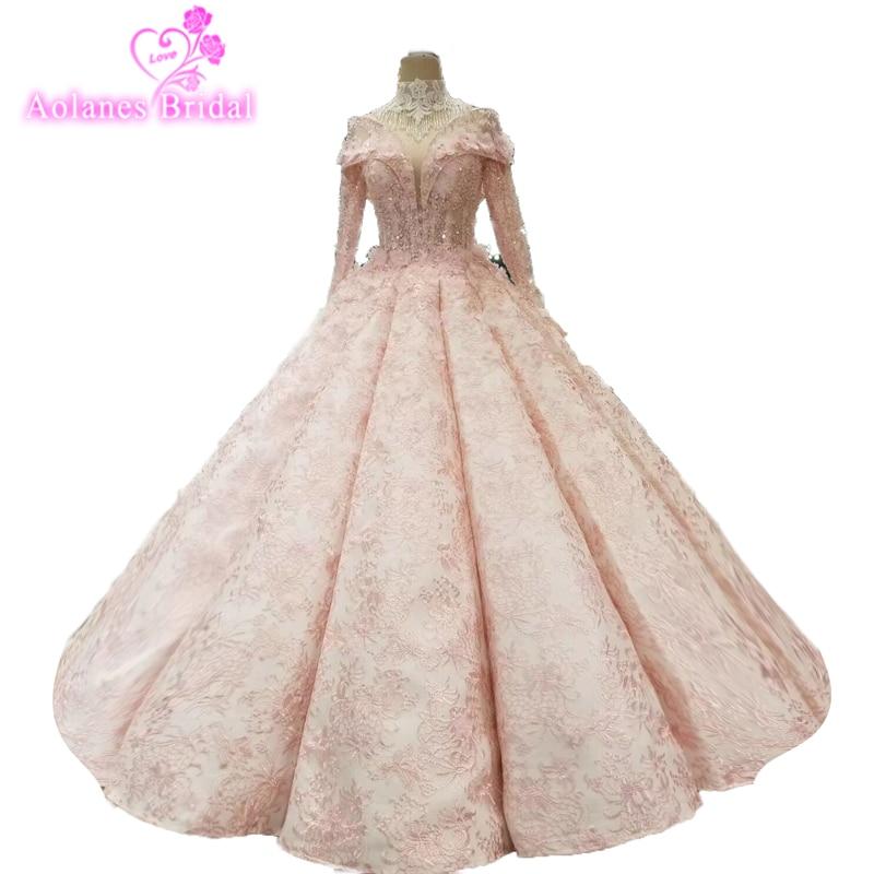 Dubai Puffy Pink Lace Wedding Dresses 2018 Sparkle Rhinestone 3d Flower Bridal Gowns Big Skirts Petticoat Vestidos De Noiva