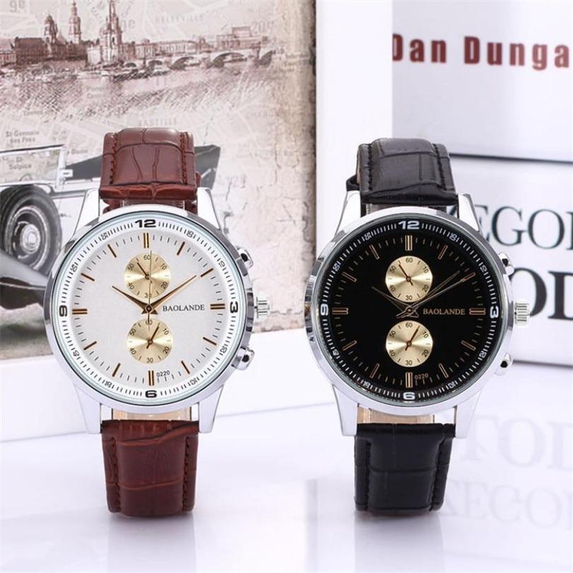 c32c8cbb7972 Durable moda lujo de cuarzo reloj hombres de negocios numerales Faux cuero  analógico reloj de cuarzo