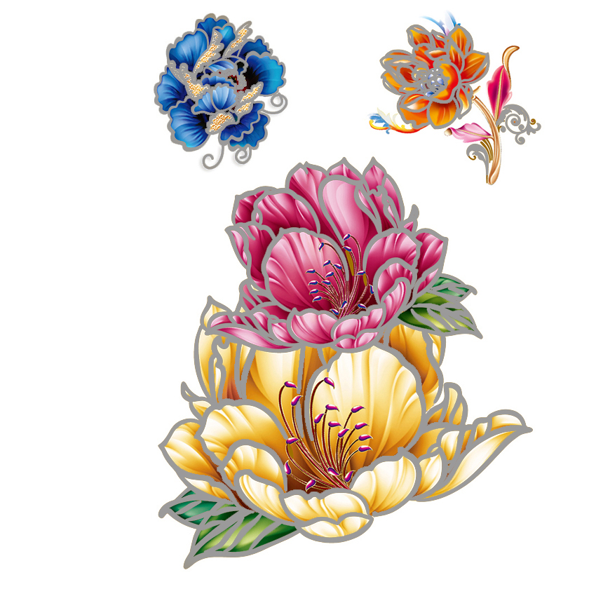 Divat Eldobható Színes Tattoo Matricák Vízálló Szépség Flash - Tetoválás és testmûvészet
