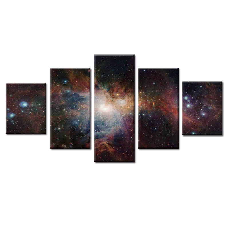 Framed Star Sky Poster Series Canvas 5 Panel Porch Corridor Frame  Version Home Decor Wall Paintings