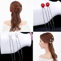 2016 NUEVAS Horquillas rojo blanco perla Pernos de Pelo para las mujeres de pelo de la novia rhinestone accesorios de La Boda Joyería Del Pelo Palillos Del Pelo