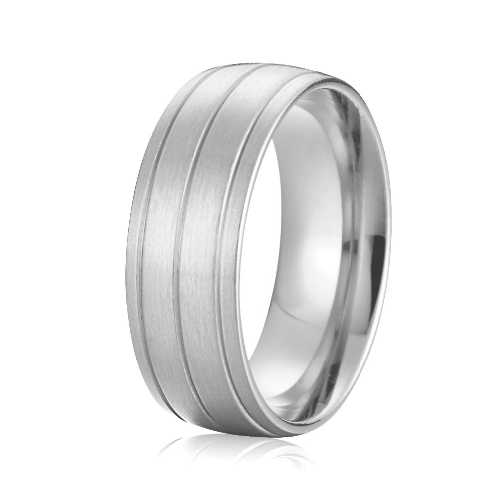 2015 Latest New Design Custom Big 8mm Mens Full USA Size 5 15 Wedding Band Ring Pure Titanium