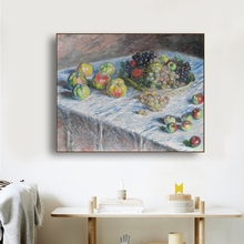где купить Apples and Grapes by Monet Wall Art Poster Print Canvas Painting Calligraphy Decorative Picture for Living Room Home Decor по лучшей цене