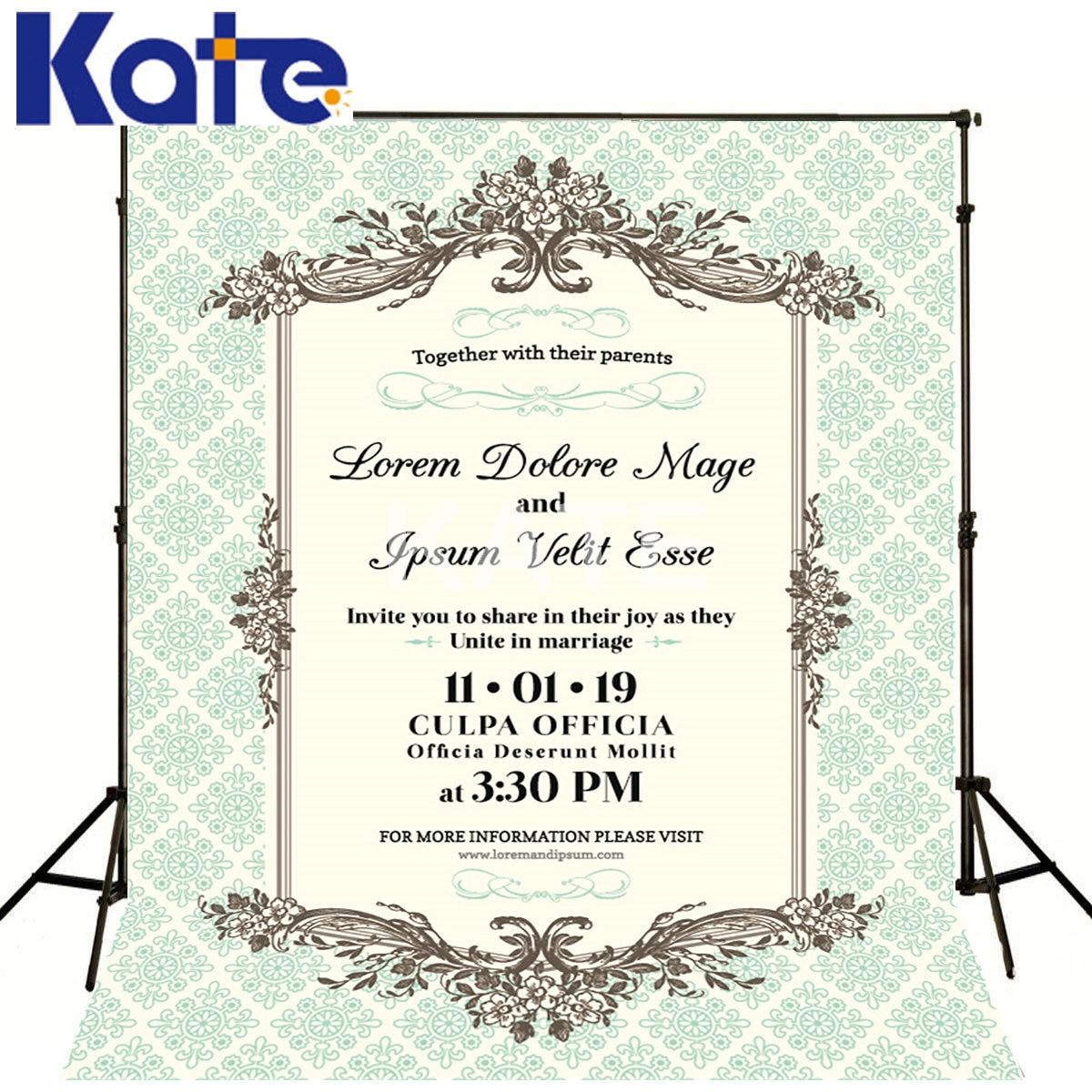 Kate photographie fond personnalisé blanc Invitation de mariage Kate Photo-arrière-plan de fond