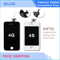 20/pcs LCD HOUSE Display for iPhone 4S 4G LCD Screen Touch Screen Pantalla Assembly Replacement Parts AAA Black White Free DHL