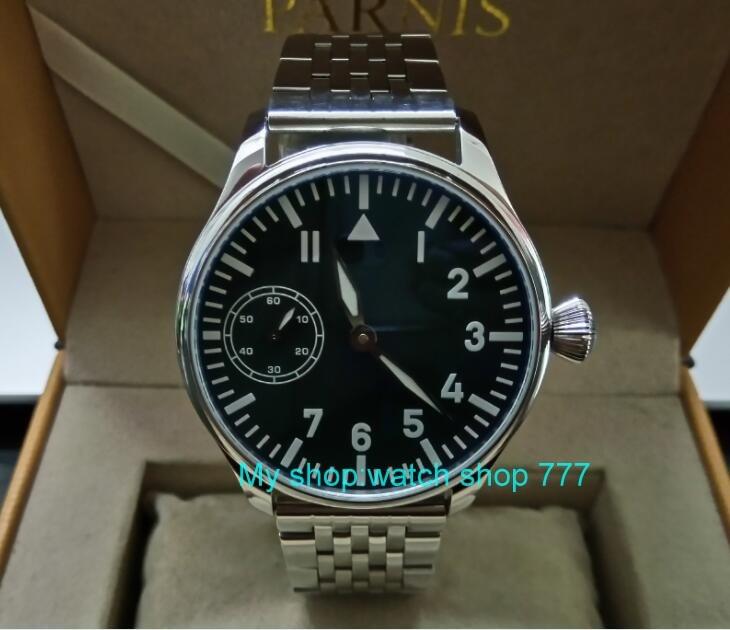 цена на 44mm PARNIS black dial Asian 6497 17 jewels Mechanical Hand Wind movement Mechanical watch blue Luminous men's watch sdgd256