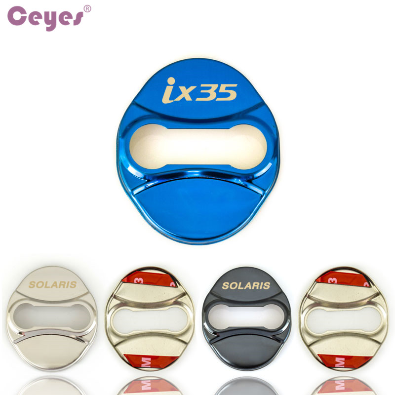 Ceyes 4pcs Auto Door Lock Cover Car Styling Case For Hyundai Ix35 Solaris Accent Car Emblems Decoration Accessories Car-Styling