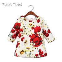 New 2016 Kids Girls Clothes Cute Flower Dress Black And White Three Quarter Sleeve O Neck