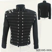 Редкие MJ Майкл Джексон Англия Стиль ретро черный военный куртка ручной работы панк Мужская Верхняя одежда на заказ Высокое качество