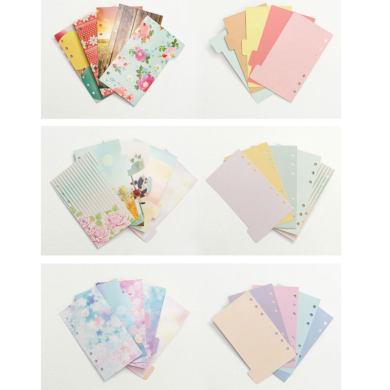 Lovedoki 2018 Flower Dividers Accessories for Dokibook Notebook Planner A5 A6 Inner Page 5pcs Per Set  Filler Papers for Filofax