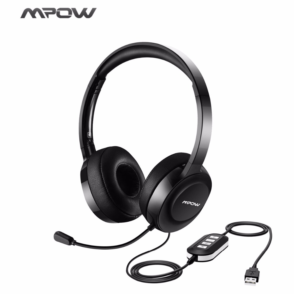Mpow Wired Headphones USB/3.5mm Plug Headset With Microphone Noise Cancelling for Call Center&Online Conference For  Win7/8/10/X hands free headphones usb plug monaural headset call center computer customer service headset for pc telephone laptop skype chat