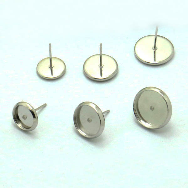 Blank Stainless Steel Stud Earrings Bases Round Bezel Pins Back Glass Cameo Cabochons  Earrings post DIY Jewelry Findings-in Jewelry Findings   Components ... 9a36cde33d70