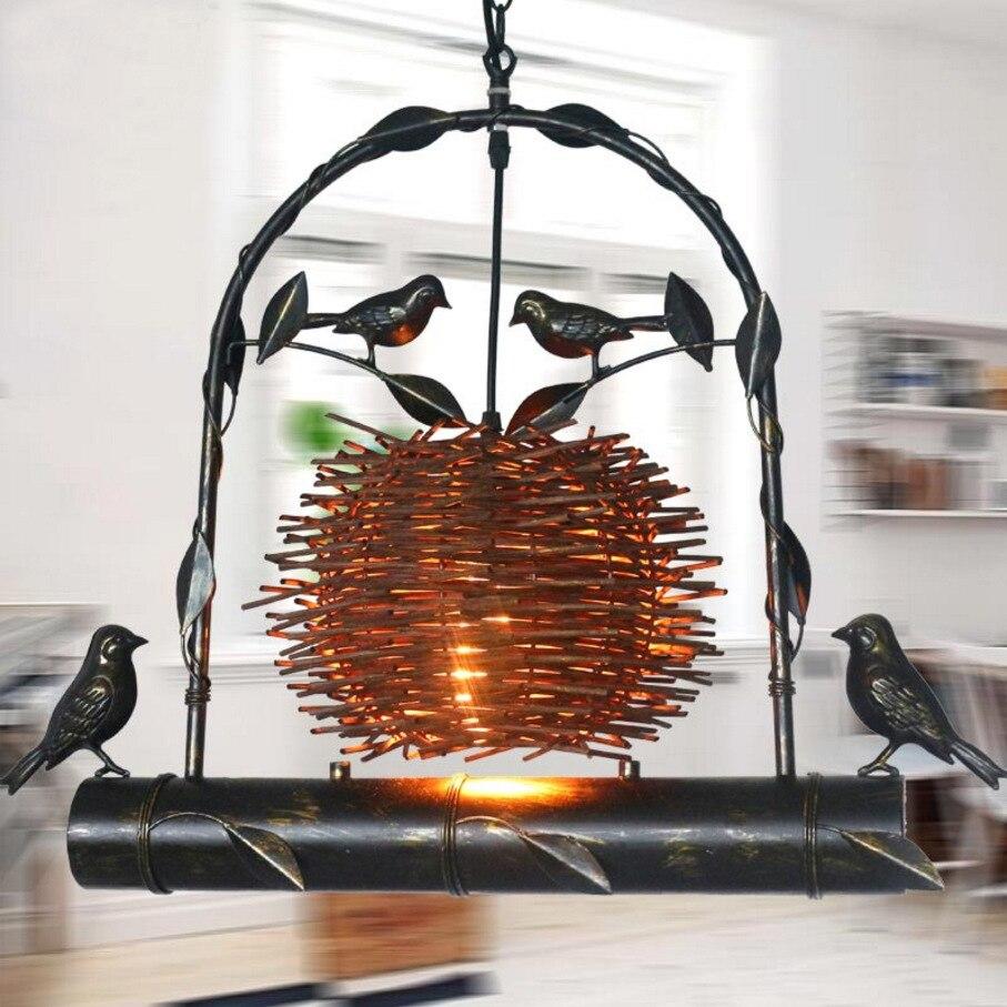 Здесь можно купить  nordic loft vintage iron bird nest pendant light restaurants aisle bar coffee shop dining room  decorative E27 hanging lamp  Свет и освещение