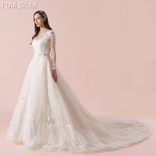 Illusion Full Sleeve Wedding Dresses Luxury Lace Appliqued High Quality New Style Button Back(China)