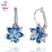 ZHE FAN Ruby Green Sapphire Glass Filled AAA CZ Zircon Queen Flower Shape For Female Party
