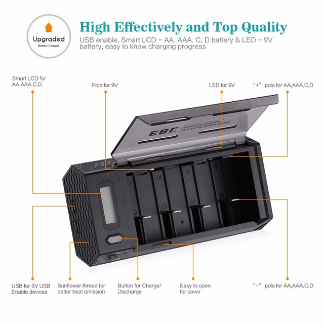 EBL Upgraded Universal 2nd Battery Charger for AA AAA C D 9V Ni-MH Ni-CD Battery Rechargeable with Dual USB Port