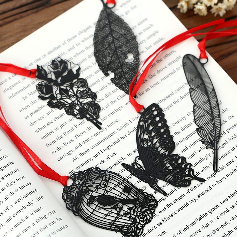 DIY Cute Kawaii Black Butterfly Feather Metal Bookmark for Book Paper Creative Items Lovely Korean Stationery Gift Package 5pack 10pcs hot sale new cute silicone finger pointing bookmark book mark office supply funny gift