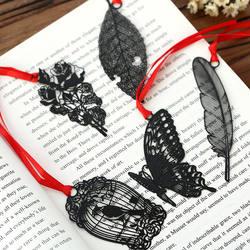 DIY милый Kawaii черная бабочка перо металлическая Закладка для книги бумага творческие элементы прекрасный корейский Канцелярские посылка