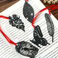 DIY Cute Kawaii Black Butterfly Feather Metal marcapáginas para papel de libro artículos creativos encantador coreano papelería Paquete de regalo