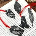 DIY Cute Kawaii Black Butterfly Feather Metal marcapáginas para papel de libro artículos creativos encantador coreano papelería Paquete de regalo
