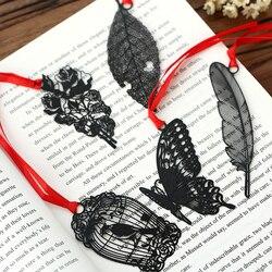 Diy bonito kawaii borboleta preta pena marcador de metal para livro de papel itens criativos adorável coreano papelaria presente pacote