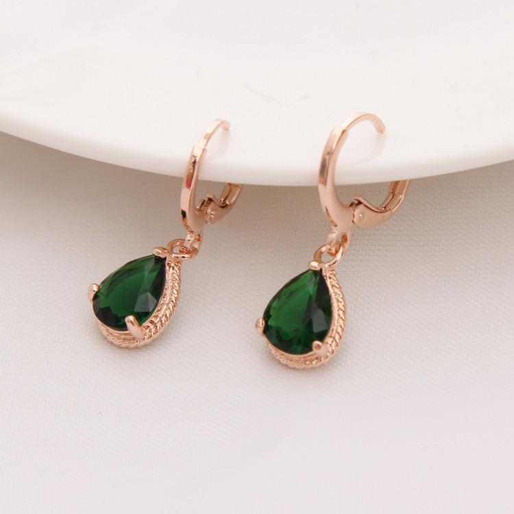 Gold Color Earrings Green Water Drop CZ Stone Pierced Dangle Earrings Women/Girls Long Drop Earrings fashion jewelry 10