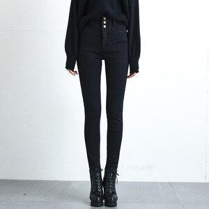 Image 4 - Kadınlar yüksek bel kadife kalın kot kadın kış 2020 sıska streç sıcak Jean pantolon anne siyah Denim pantolon polar