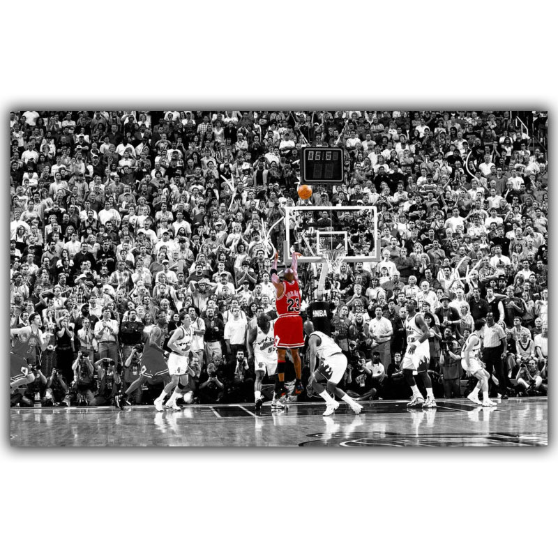 Michael jordan dunks basketball star inspirational art silk poster print sport picture home wall decoration in painting calligraphy from home garden on